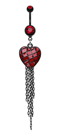 Blackline Red Heart Chain Tassel Belly Button Ring - 14 GA (1.6mm) - Red - Sold Individually