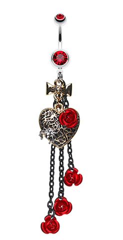 Gothic Chic Golden Colored Heart Metal Rose Belly Button Ring - 14 GA (1.6mm) - Red - Sold Individually