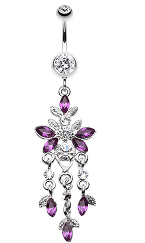 Butterfly Sparkle Droplets Belly Button Ring - 14 GA (1.6mm) - Purple - Sold Individually