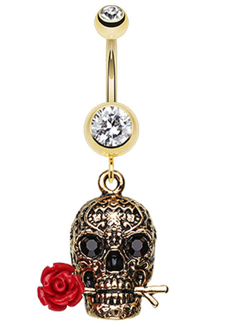 Golden Colored Skull Rose Belly Button Ring - 14 GA (1.6mm) - Clear - Sold Individually