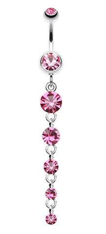 Crystalline Droplets Fall Belly Button Ring - 14 GA (1.6mm) - Light Pink - Sold Individually