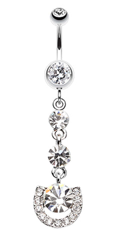 Vivacious Crystals Belly Button Ring - 14 GA (1.6mm) - Clear - Sold Individually