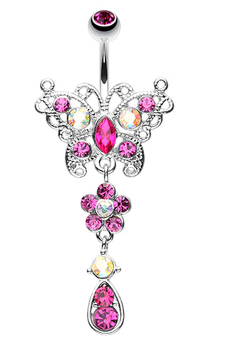 Glistening Butterfly Flower Belly Button Ring - 14 GA (1.6mm) - Fuchsia - Sold Individually