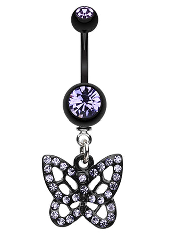 Blackline Butterfly Belly Button Ring - 14 GA (1.6mm) - Blue - Sold Individually