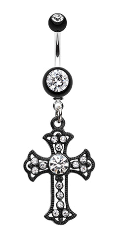 Blackline Opulent Cross Belly Button Ring - 14 GA (1.6mm) - Clear - Sold Individually