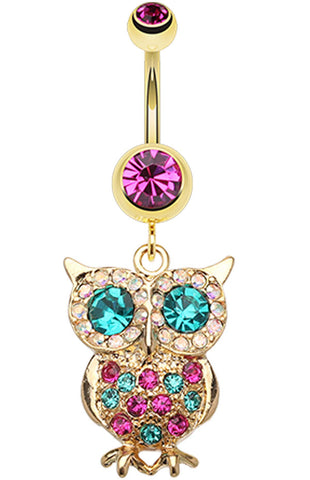 Golden Colored Owl Sparkle Belly Button Ring - 14 GA (1.6mm) - Fuchsia - Sold Individually