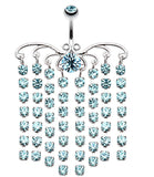 Sparkling Curtain Chandelier Belly Button Ring - 14 GA (1.6mm) - Aqua - Sold Individually
