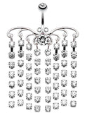 Sparkling Curtain Chandelier Belly Button Ring - 14 GA (1.6mm) - Clear - Sold Individually