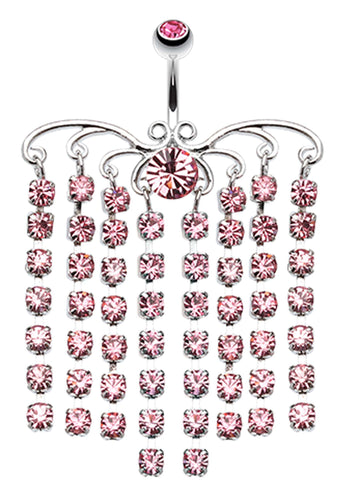 Sparkling Curtain Chandelier Belly Button Ring - 14 GA (1.6mm) - Light Pink - Sold Individually