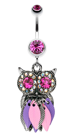 Vibrant Owl Feather Sparkle Belly Button Ring - 14 GA (1.6mm) - Fuchsia - Sold Individually