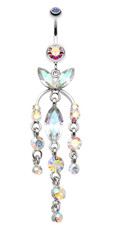 Jeweled Chandlier Belly Button Ring - 14 GA (1.6mm) - Aurora Borealis - Sold Individually