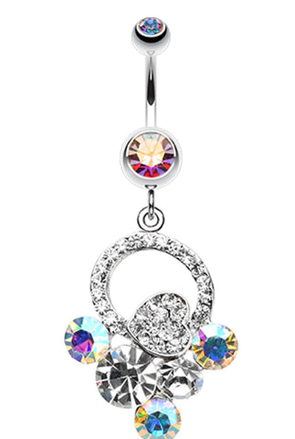 Treasure Cluster Heart Belly Button Ring - 14 GA (1.6mm) - Aurora Borealis - Sold Individually