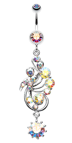 Elegant Journey Vine Swirl Belly Button Ring - 14 GA (1.6mm) - Aurora Borealis - Sold Individually