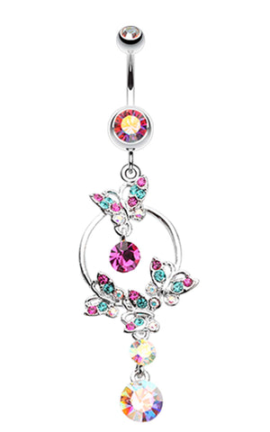 Glistening Butterfly Garden Belly Button Ring - 14 GA (1.6mm) - Aurora Borealis - Sold Individually