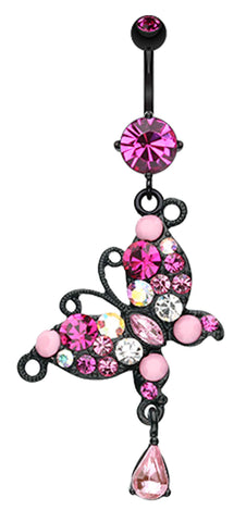 Blackline Glam Butterfly Belly Button Ring - 14 GA (1.6mm) - Fuchsia - Sold Individually