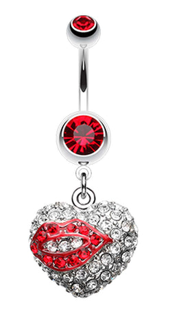 Sexy Lip Glam Heart Belly Button Ring - 14 GA (1.6mm) - Red - Sold Individually