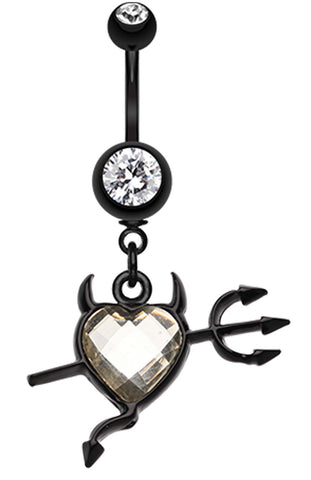 Cruela's Heart Belly Button Ring - 14 GA (1.6mm) - Clear - Sold Individually