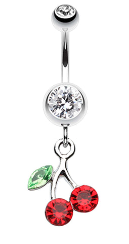 Lucky Cherry Belly Button Ring - 14 GA (1.6mm) - Clear/Red - Sold Individually