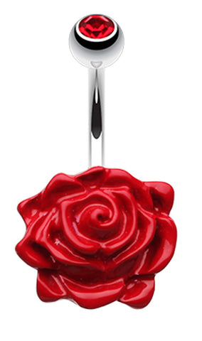 Glossy Rose Belly Button Ring - 14 GA (1.6mm) - Red - Sold Individually