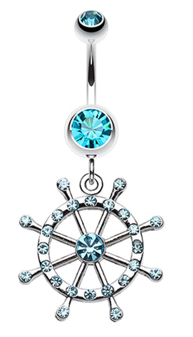 Classic Boat Anchor Wheel Belly Button Ring - 14 GA (1.6mm) - Aqua - Sold Individually