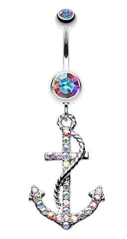 Glistening Glass-Gem Anchor Dock Belly Button Ring - 14 GA (1.6mm) - Aurora Borealis - Sold Individually