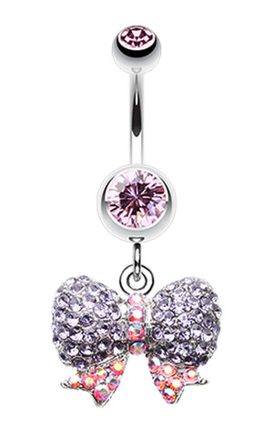 Lovely Sparkle Bow-Tie Belly Button Ring - 14 GA (1.6mm) - Light Pink - Sold Individually