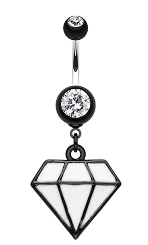 Urban Diamond Shaped Cast Belly Button Ring - 14 GA (1.6mm) - Black - Sold Individually