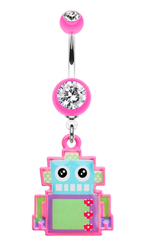 Lillibot Robot Belly Button Ring - 14 GA (1.6mm) - Pink - Sold Individually