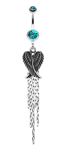 Fallen Angel Belly Button Ring - 14 GA (1.6mm) - Teal - Sold Individually