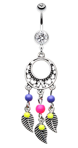 Vintage Enchanted Dream Catchers Belly Button Ring - 14 GA (1.6mm) - Retro Pink - Sold Individually