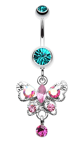 Butterfly Gleam Belly Button Ring - 14 GA (1.6mm) - Teal/Fuchsia - Sold Individually