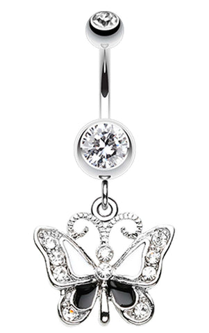 Butterfly Delight Belly Button Ring - 14 GA (1.6mm) - Clear - Sold Individually