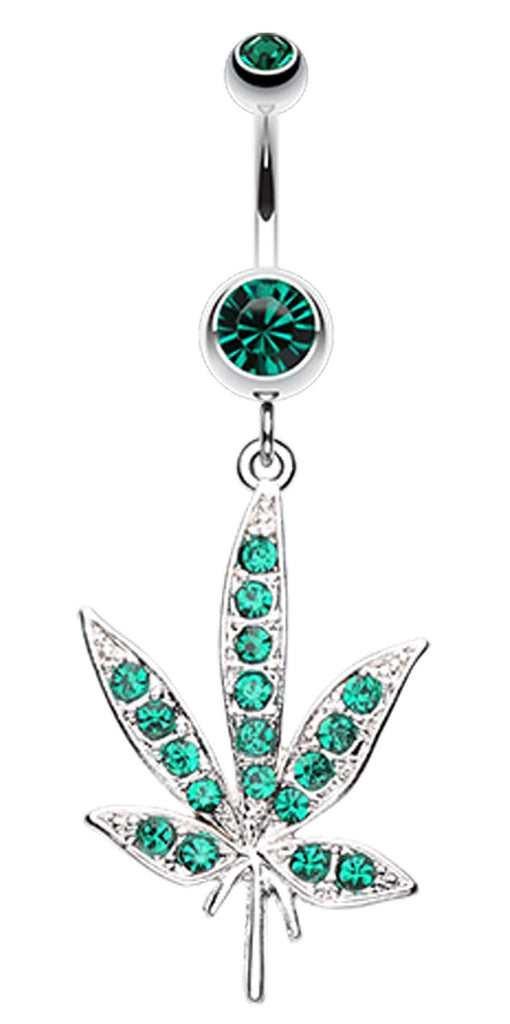Cannibis Pot Leaf Multi Glass Gem Belly Button Ring