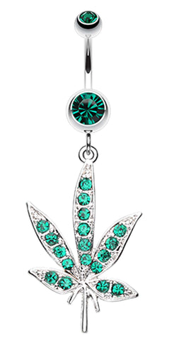 Cannibis Pot Leaf Multi-Glass-Gem Belly Button Ring - 14 GA (1.6mm) - Green - Sold Individually