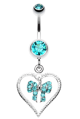 Glam Bow-Tie in Heart Belly Button Ring - 14 GA (1.6mm) - Teal - Sold Individually