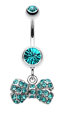 Dainty Bow-Tie Belly Button Ring - 14 GA (1.6mm) - Teal - Sold Individually