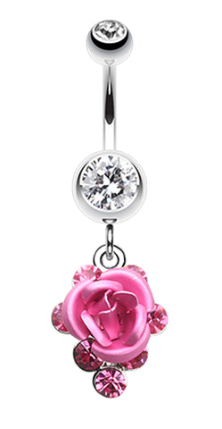 Rose Glass-Gems Cluster Belly Button Ring - 14 GA (1.6mm) - Clear/Pink - Sold Individually