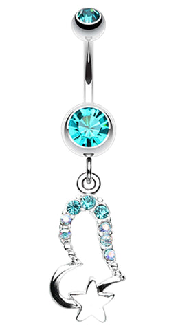 Journey Heart and Star Belly Button Ring - 14 GA (1.6mm) - Teal - Sold Individually