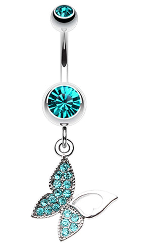 Butterfly Allure Multi-Glass-Gem Belly Button Ring - 14 GA (1.6mm) - Teal - Sold Individually