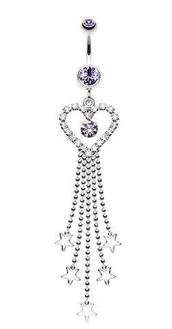 Heart Crystalline Star Falls Belly Button Ring - 14 GA (1.6mm) - Blue - Sold Individually