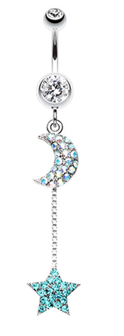 Celeste Moon and Star Belly Button Ring - 14 GA (1.6mm) - Clear/Teal - Sold Individually