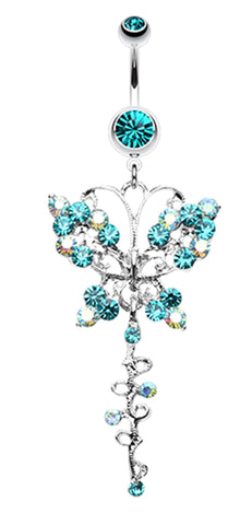 Opulent Butterfly Multi-Glass-Gem Belly Button Ring - 14 GA (1.6mm) - Teal/Aurora Borealis - Sold Individually