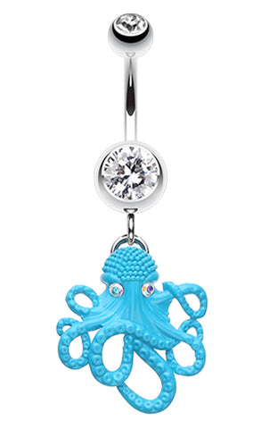 Evil Octopus Belly Button Ring - 14 GA (1.6mm) - Clear - Sold Individually