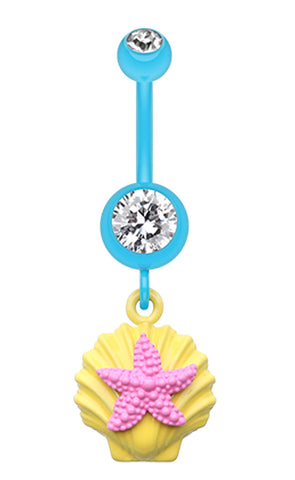 Ariel's Starfish Shell Belly Button Ring - 14 GA (1.6mm) - Yellow/Clear/Pink - Sold Individually