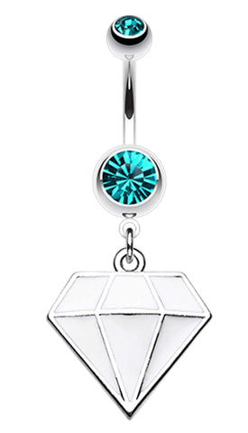 Urban Diamond Shaped 316L Surgical Steel Belly Button Ring - 14 GA (1.6mm) - Teal/White - Sold Individually