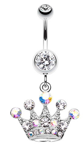 Crown Jewel Multi-Glass-Gem Belly Button Ring - 14 GA (1.6mm) - Clear - Sold Individually