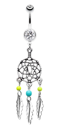 Classic Beaded Dream Catcher Belly Button Ring - 14 GA (1.6mm) - Clear/Yellow - Sold Individually