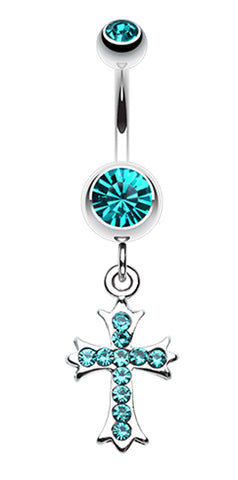 Cross Sparkle Dangle Belly Button Ring - 14 GA (1.6mm) - Teal - Sold Individually