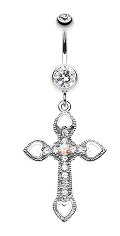 Cross Hearts Belly Button Ring - 14 GA (1.6mm) - Clear/Aurora Borealis - Sold Individually