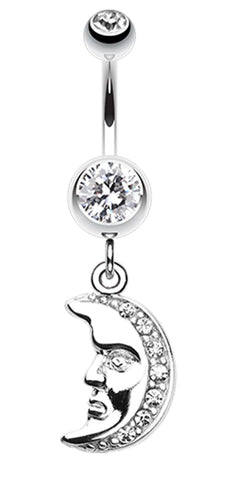 Crescent Moon Face Belly Button Ring - 14 GA (1.6mm) - Clear - Sold Individually